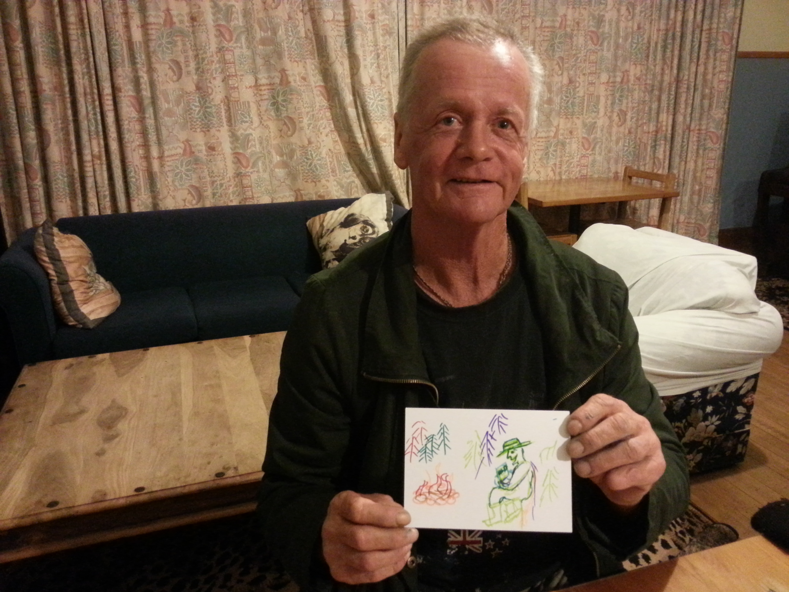 """""""I'm sitting by the fire reading my fathers day card from my daughter who I haven't seen in  28 years."""" Seized by Collin in Greymouth New Zealand on September 14th 2014"""