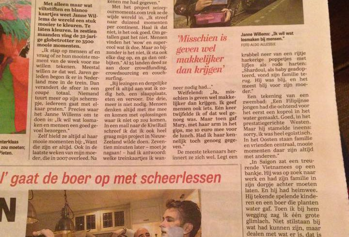 """Maybe it's easier to give than to receive"", Dutch newspaper De Telegraaf"