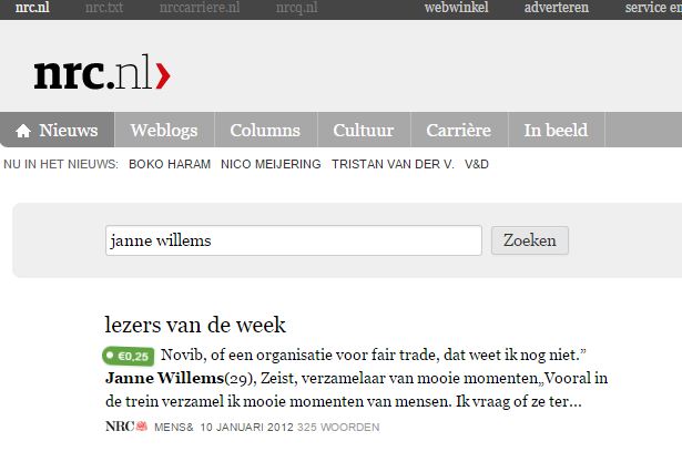 Janne was reader of the week: NRC-Handelsblad