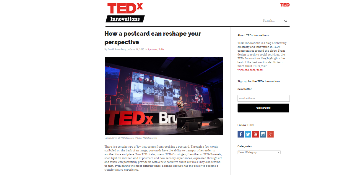 tedx innovations postcards reshape perspective janne willems