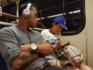 Drawing in the metro of Los Angeles.