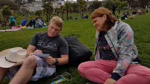In Dolores Park, San Francisco. Photo is taken by Sarah Hunt.